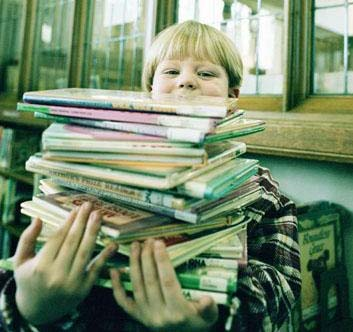 Library boy with books